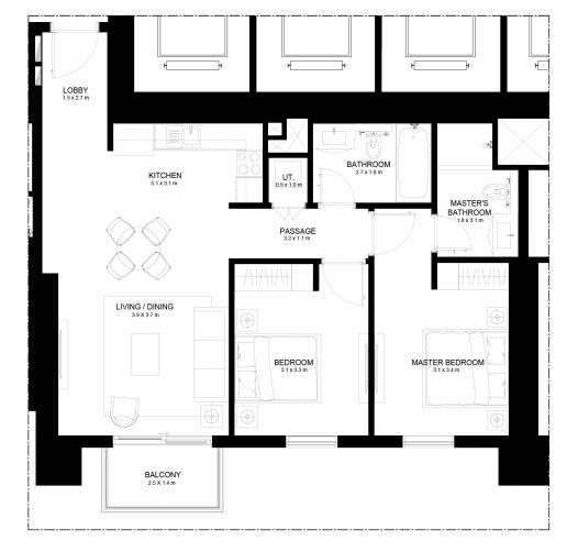 Planning of the apartment 2BR, 995.48 in Burj Crown, Dubai