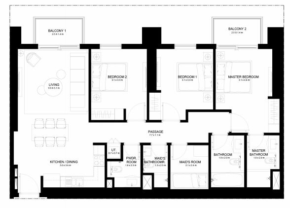 Planning of the apartment 3BR, 1354.64 in Burj Crown, Dubai