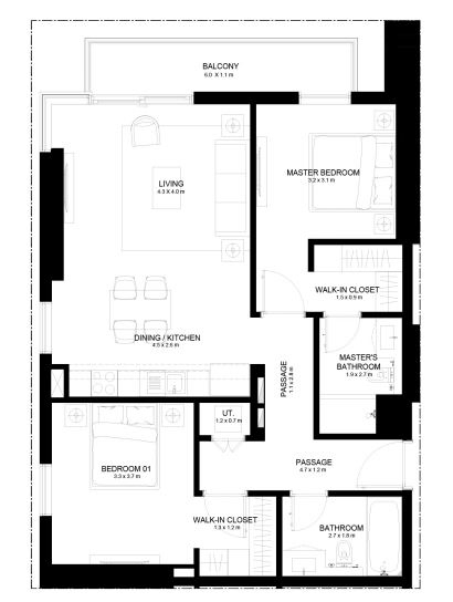 Planning of the apartment 2BR, 1061.43 in Burj Crown, Dubai