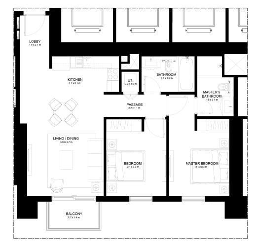 Planning of the apartment 2BR, 988.35 in Burj Crown, Dubai