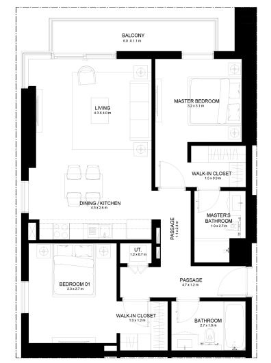 Planning of the apartment 3BR, 1066.06 in Burj Crown, Dubai