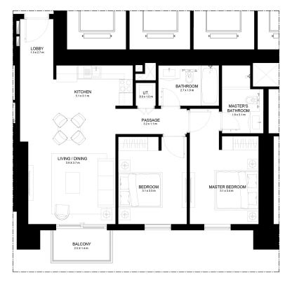Planning of the apartment 2BR, 998 in Burj Crown, Dubai