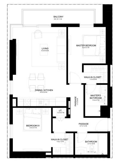 Planning of the apartment 2BR, 1066.06 in Burj Crown, Dubai