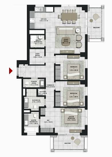 Planning of the apartment 3BR, 1526 in SURF, Dubai