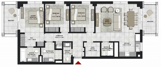 Planning of the apartment 3BR, 1492 in SURF, Dubai