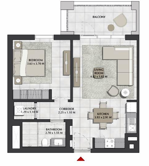 Planning of the apartment 1BR, 688 in SURF, Dubai
