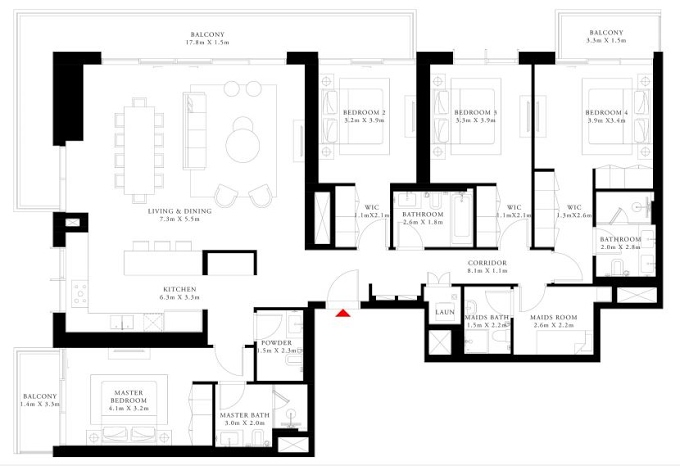 Planning of the apartment 4BR, 2583.66 in Beach Isle, Dubai