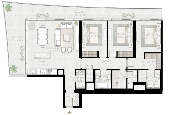 Planning of the apartment 3BR, 1927 in Beach Vista Tower, Dubai