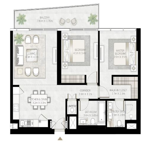 Planning of the apartment 2BR, 1143 in Beach Vista Tower, Dubai