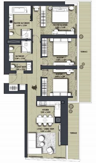 Planning of the apartment 3BR, 1796 in The Address Residences Dubai Opera, Dubai