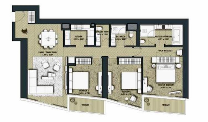 Planning of the apartment 3BR, 1685 in The Address Residences Dubai Opera, Dubai