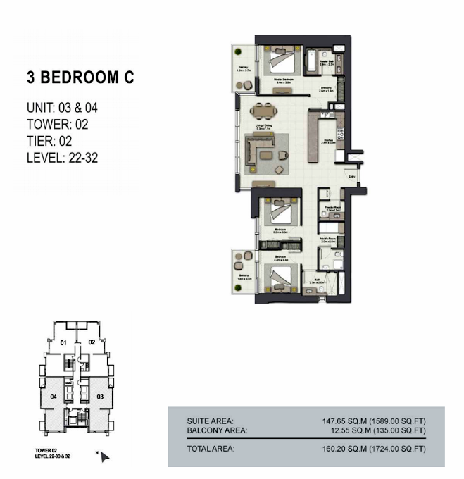 Planning of the apartment 3BR, 1724 in 52/42 Tower Dubai Marina, Dubai
