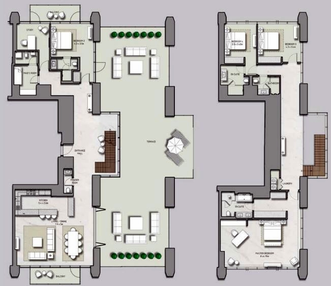 Planning of the apartment 4BR, 6392 in Boulevard Heights, Dubai