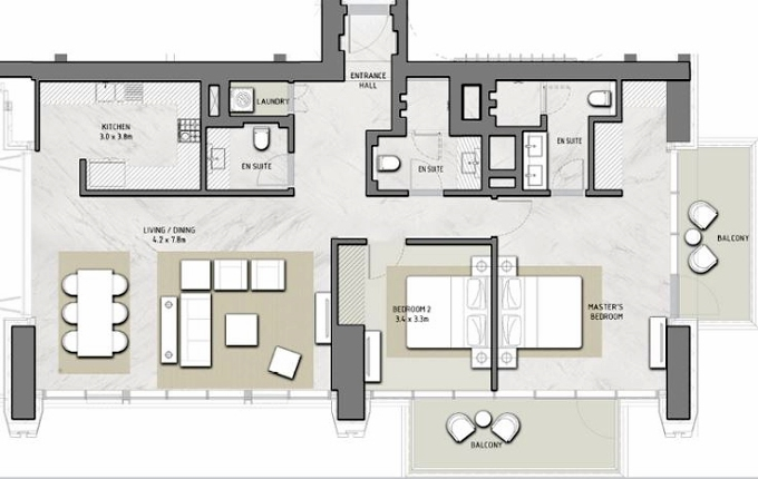 Planning of the apartment 2BR, 2946 in Boulevard Heights, Dubai