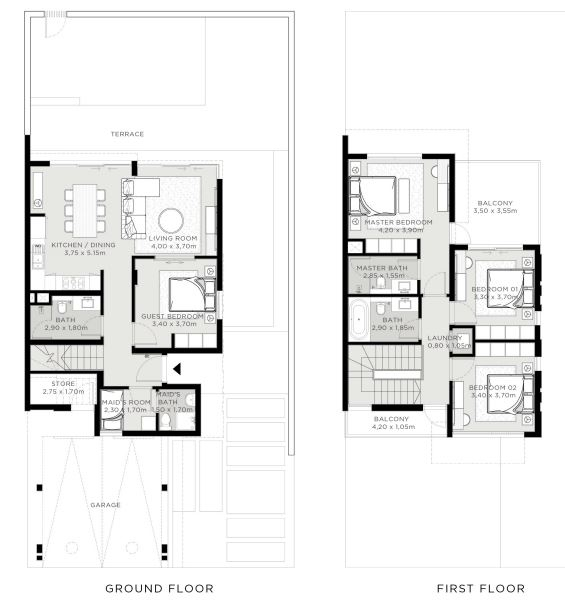 Planning of the apartment 4BR, 2325 in The Valley, Dubai