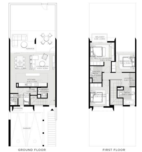 Planning of the apartment 3BR, 2054 in The Valley, Dubai