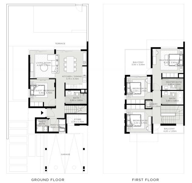 Planning of the apartment 4BR, 2323 in The Valley, Dubai