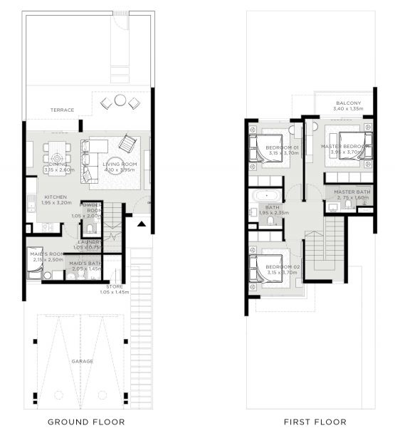 Planning of the apartment 3BR, 1997 in The Valley, Dubai