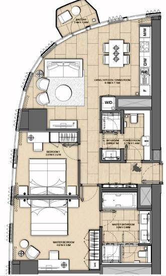 Planning of the apartment 2BR, 1102 in Address Harbour Point, Dubai