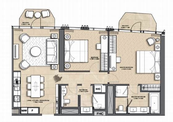 Planning of the apartment 2BR, 1121 in Address Harbour Point, Dubai