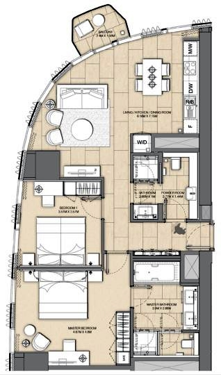 Planning of the apartment 2BR, 1103 in Address Harbour Point, Dubai