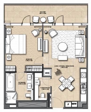 Planning of the apartment 1BR, 913 in Address Harbour Point, Dubai