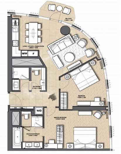 Planning of the apartment 2BR, 1127 in Address Harbour Point, Dubai