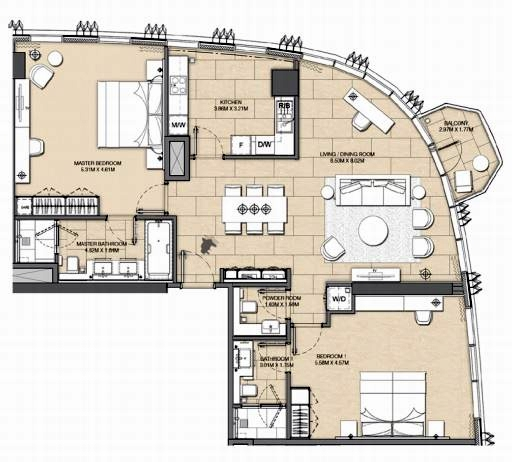 Planning of the apartment 2BR, 1432 in Address Harbour Point, Dubai