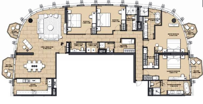 Planning of the apartment 4BR, 2989 in Address Harbour Point, Dubai