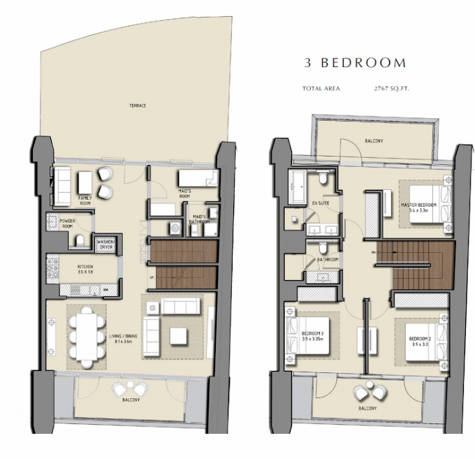 Planning of the apartment 3BR, 2767 in Boulevard Heights, Dubai