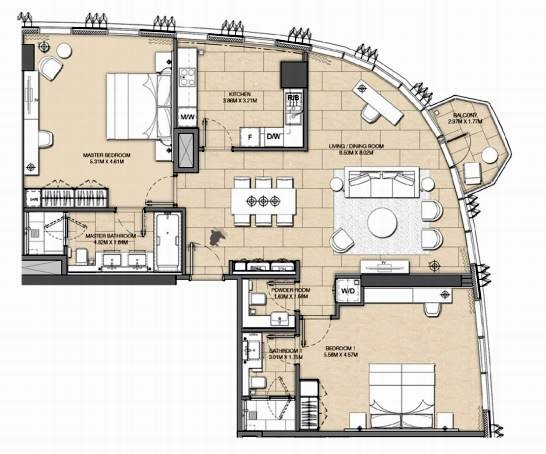 Planning of the apartment 2BR, 1437 in Address Harbour Point, Dubai