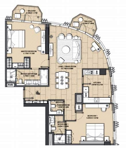 Planning of the apartment 2BR, 1553 in Address Harbour Point, Dubai