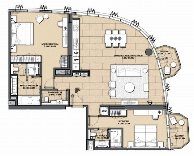 Planning of the apartment 2BR, 1586 in Address Harbour Point, Dubai