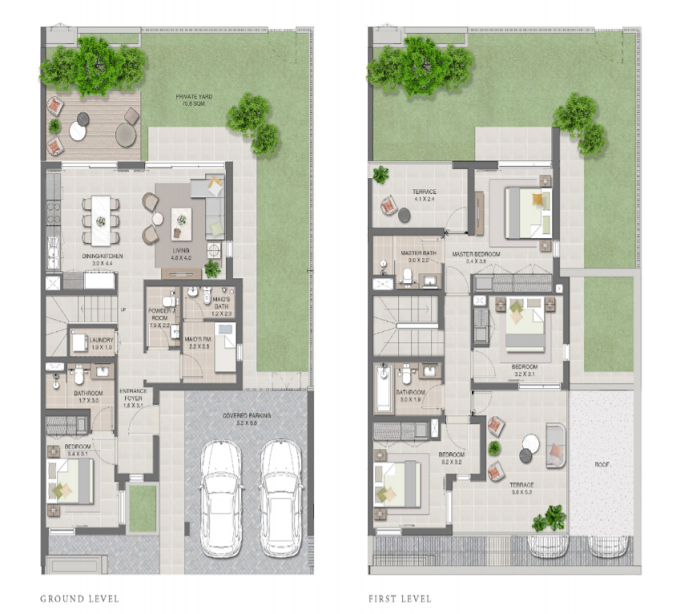 Planning of the apartment Townhouses 4BR, 2655 in Arabian Ranches 3, Dubai