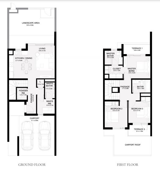 Planning of the apartment Townhouses 3BR, 2044 in Arabian Ranches 3, Dubai