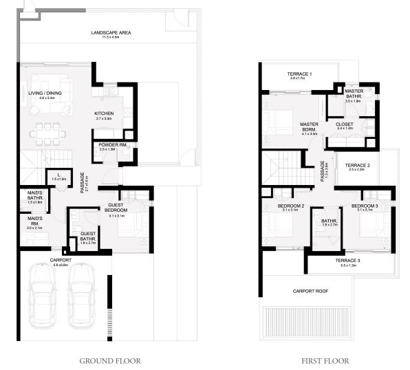 Planning of the apartment Townhouses 4BR, 2483 in Arabian Ranches 3, Dubai