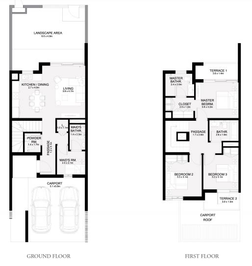 Planning of the apartment Townhouses 3BR, 2031 in Arabian Ranches 3, Dubai