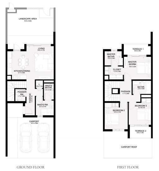 Planning of the apartment Townhouses 3BR, 2082 in Arabian Ranches 3, Dubai