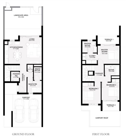 Planning of the apartment Townhouses 3BR, 2040 in Arabian Ranches 3, Dubai