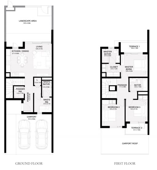 Planning of the apartment Townhouses 3BR, 2086 in Arabian Ranches 3, Dubai