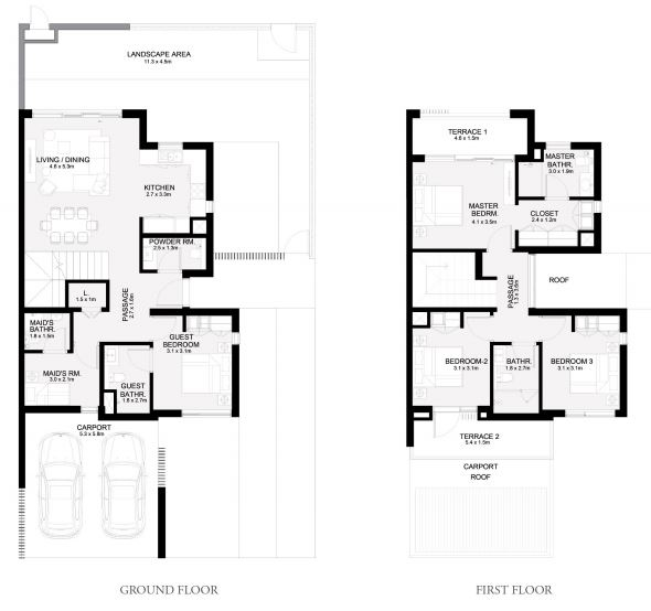 Planning of the apartment Townhouses 4BR, 2404 in Arabian Ranches 3, Dubai