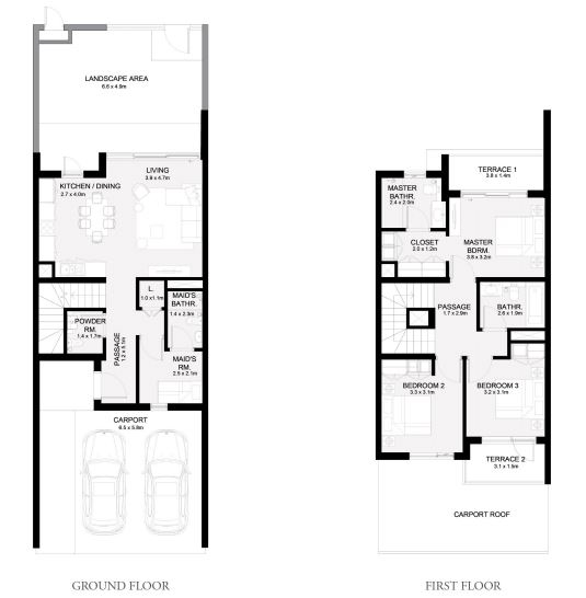 Planning of the apartment Townhouses 3BR, 2080 in Arabian Ranches 3, Dubai