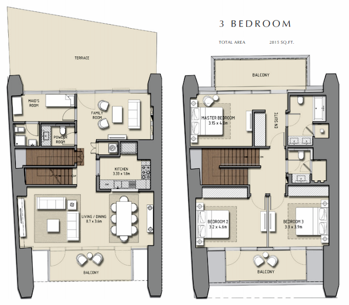 Planning of the apartment 3BR, 2815 in Boulevard Heights, Dubai