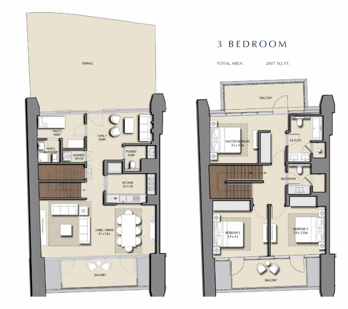 Planning of the apartment 3BR, 2807 in Boulevard Heights, Dubai