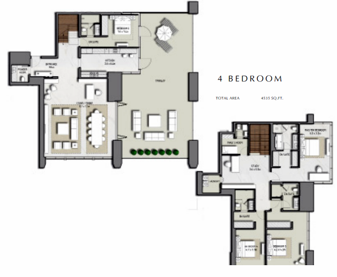 Planning of the apartment 4BR, 4535 in Boulevard Heights, Dubai