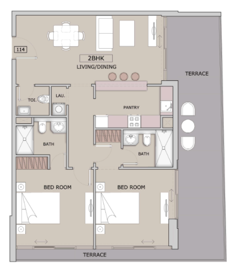 Planning of the apartment 2BR, 1274 in Oxford Boulevard, Dubai