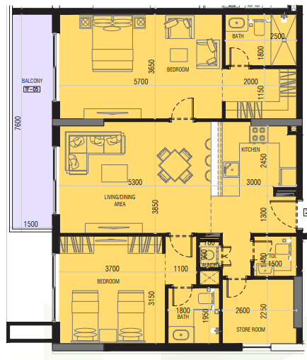Planning of the apartment 2BR, 1223.1 in Joya Blanca, Dubai