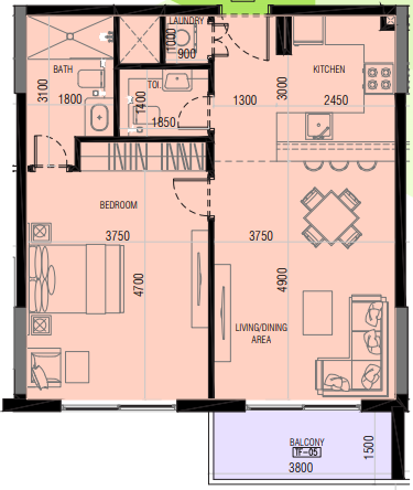 Planning of the apartment 1BR, 745.51 in Joya Blanca, Dubai