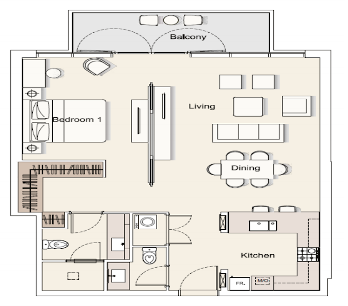 Planning of the apartment 1BR, 1037.53 in DT1 Luxury Apartments, Dubai