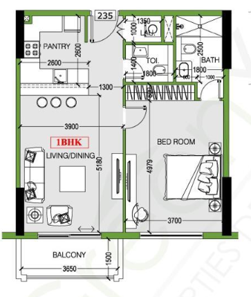 Planning of the apartment 1BR, 769 in Joya Blanca, Dubai